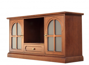 Mueble tv estilo clásico puerta vitrina