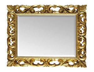 Espejo rectangular tallado pan de oro o plata