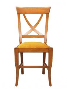 Silla con respaldo cruzado y asiento tapizado