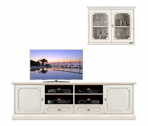 Mueble de pared laqueado para tv  y vitrina de pared
