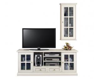 Mueble de tv para pared salón en madera laqueada blanca