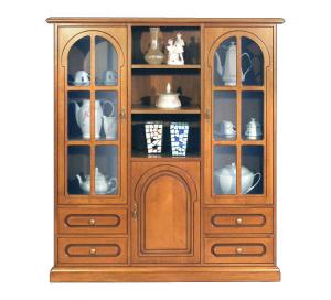 Mueble vitrina modular 3 puertas en vidrio y madera