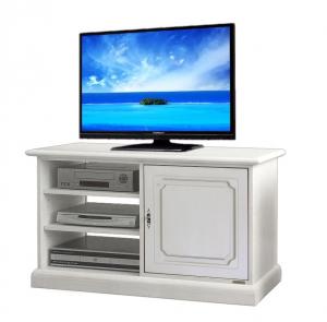 Mueble tv aparador barnizado blanco y vanos laterales