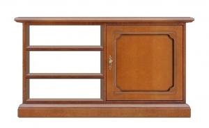 Mueble de tv en madera con vanos y puerta vitrina