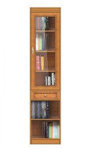 Elegante librería modular con vitrina