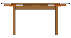 Mesa rectangular incrustada 170-250 cm