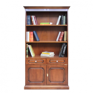 Librería alta de madera 2 puertas 2 cajones