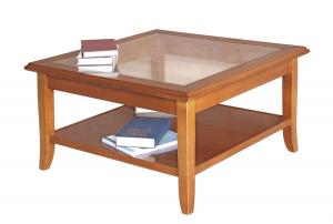 Mesa de centro cuadrada con top de vidrio - OFERTA