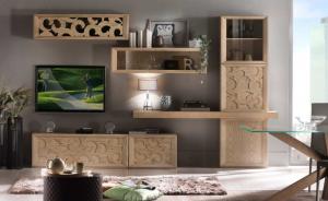 Mueble de pared en madera, mueble de salón Dubai