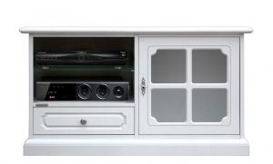 Mueble vitrina tv baja blanca vano abierto estante de vidrio