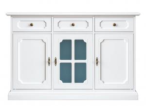 Aparador blanco puerta en vidrio azul para cocina/salón