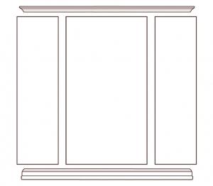 Librería de pared con vano abierto central