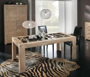 Mesa de fresno tablero en vidrio diseño moderno
