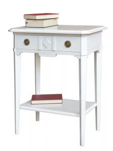 Consola barnizada blanca rectangular en madera maciza