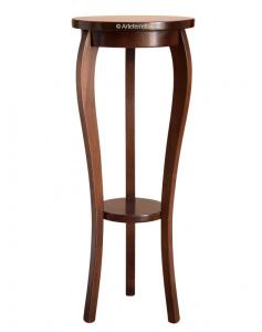 Pedestal estilo clásico en madera para macetas con estante inferior