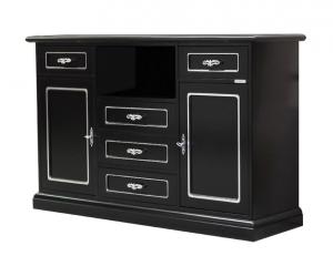 Mueble tv negro y plata, multifuncional Black Silver Fashion