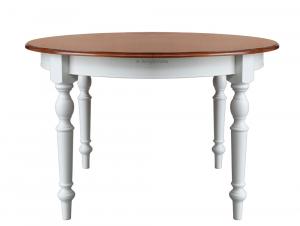 Mesa redonda cerezo y blanco en madera