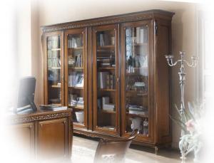 Mueble vitrina librería de pared 4 puertas