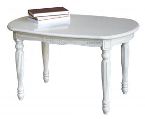 Pequeña mesa de centro ovalada con patas acanaladas