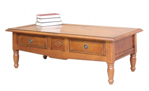 Mesa de centro de madera maciza con 2 cajones