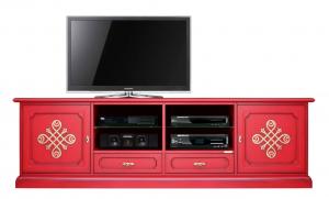 Mueble de tv rojo con frisos dorados Red & Gold