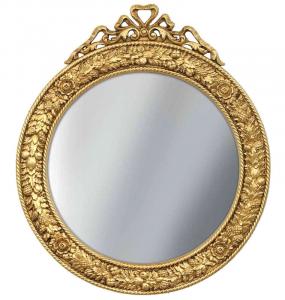 Espejo redondo y tallado acabado en pan de oro