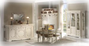 Mueble de salón vitrina blanca y oro