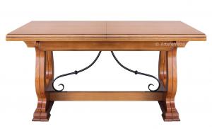 Mesa rectangular estilo rustico pata central La Posada 160-340 cm