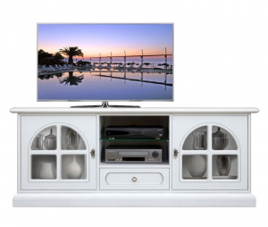 Mueble tv laqueado realizado a mano por artesanos italianos White Diamond