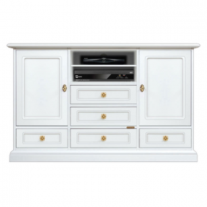 Mueble tv blanco aparador largo para salón estilo clásico Top