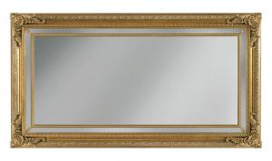 Espejo rectangular con frisos de madera