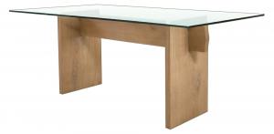 Mesa de roble macizo y tablero de vidrio