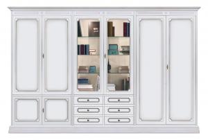 Composición mueble de pared para salón en madera anchura 3 m