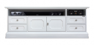 Mueble tv vano barra de sonido laqueado blanco