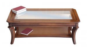 Mesita de salón rectangular con tablero de vidrio