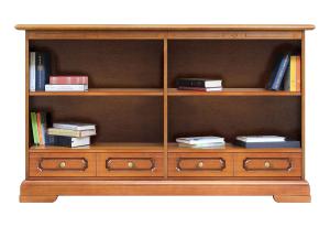 Librería baja doble con cajones y estantes ajustables
