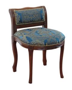 Taburete con respaldo tapizado estilo clásico