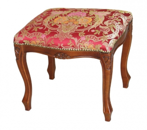 Taburete estilo 1700 de madera y tapizado