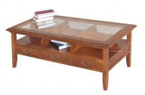 Mesa de centro de madera y vidrio con 3 cajones