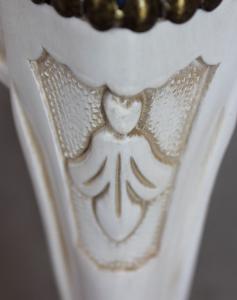 Taburete laqueado blanco de madera estilo 1700