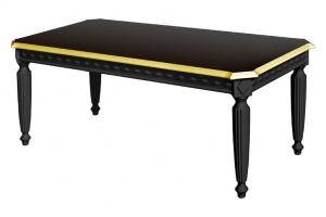 Mesa de centro negra con detalles en pan