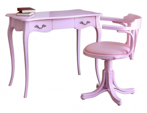 Mesa de despacho rosa y sillón giratorio laqueado rosa