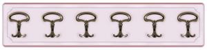 Perchero de madera rosa 6 ganchos bronceados