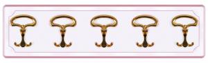 Perchero lacado rosa 5 ganchos dorados