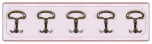 Perchero madera laqueada rosa 5 ganchos