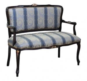 Sofa Parisienne negro envejecido y oro