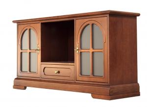 Mueble tv puertas vitrinas laterales vano central 130 cm