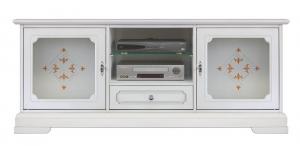 Mueble tv en madera puertas laterales con vidrio Top Glass