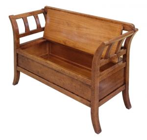 Banco y caja de almacenaje de madera