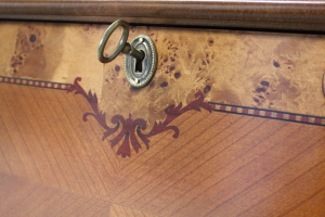 Mueble trumeau con tapa rebatible y cajones